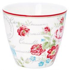 GreenGate Stoneware Latte Cup Camille White H9 cm