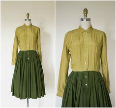 1950s  silk shirtdress / vintage 1950s olive gold silk day dress / 1950s rockabilly dress / small by VelvetPinVintage on Etsy