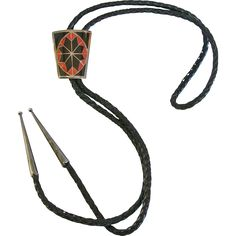 Native American Inlaid Star Design Sterling Silver Bolo Tie from Hidden in the Hills on Ruby Lane