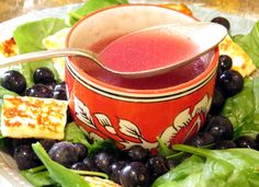 Blueberry Vinaigrette: Store in fridge and shake well to emulsify before use. tasty as a marinade or drizzled over a green salad, roast vegetable salad or steamed seasonal greens.