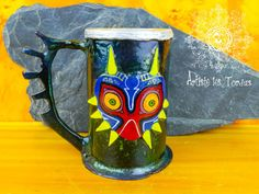 Beer ZELDA tankard of Majora,s maskgift, tankard,stein, mug, forged,iron,christmas,gamer , zelda,majora's mask,beer,green