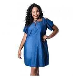 Vestido Plus Size Evasê Jeans Lenner Plus  #modaplussize #roupasplussize #roupasfemininas #modafeminina #plussize #beline