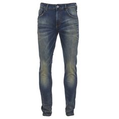 Scotch & Soda Men's Skim Worn Denim Jeans - Hocus Pocus ($185) ❤ liked on Polyvore featuring men's fashion, men's clothing, men's jeans, men, pants, jeans, bottoms, men wear, blue and mens leather jeans