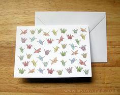 Patterned Origami Cranes Postcard Print by BryonyCrane on Etsy, Framed Art Prints, Poster Prints, Posters, Postcard Printing, Origami Cranes, Paper Cranes, Dot And Bo, Color Card, Pattern Design