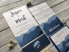 Langdale Wedding Invitation Design. This design is inspired by the mountains of The Lake District.