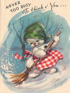 Unused Marjorie Cooper Snowman Christmas Card BQ 23 | eBay