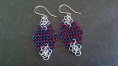 4 in 1 Chainmail Earrings, Red, Blue, Silver, Diamond Shape Chainmaille, Dangle Earrings, Drop Earrings, 4th of July, Summer, Beach, Gift Ideas
