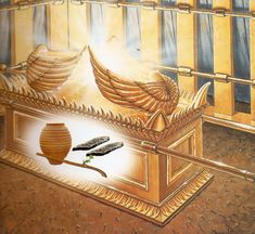 Ark of the covenant : The portable  box that Moses built to hold the stone tablets containing the ten commandments and the manna that the Israelites ate in the desert. The ark was lined with gold inside and out, and on the top were two angels facing each other. To the Israelites the ark was a sign of God's presence with them in their desert wanderings. In the first Temple of Jerusalem, the ark was kept in the Holy of Holies.