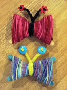 Yarn Butterflies Spring Craft