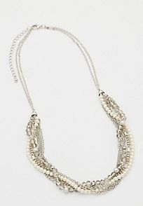 twisted chain and faux pearl statement necklace