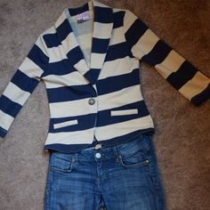 New Stripped 3/4 Sleeve Blazer NWOT Love on a Hanger Blazer. This is a small and fits pretty true to size. Arms are 3/4 sleeve and measure from the shoulder seem to the cuff at 18 inches. The button is gold. It is navy blue and creme stripes. Price is firm unless bundled. love on a hanger Jackets & Coats Blazers