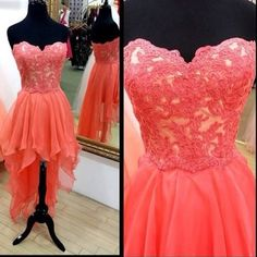H214 cute handmade high low coral prom dresses with lace applique, homecoming dresses, party dresses, formal dresses