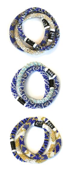 Fair trade Lily and Laura Bracelets featuring several shades of blue - Click for details about free shipping!