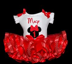 Minnie Mouse First Birthday Girl's Tutu Outfi 2 pieces