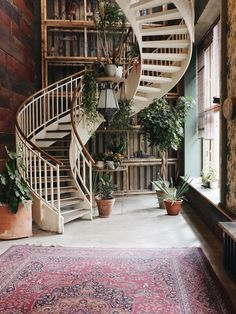 exposed brick + spiral staircase
