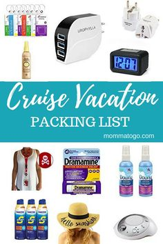 Cruise Packing Hacks - Momma To Go Travel - Things to pack for a cruise. A guide to what you need to wear, what you need for your stateroom and everything that will make your cruise so much fun! Packing List For Vacation, Packing For A Cruise, Cruise Travel, Packing Tips For Travel, Cruise Vacation, Travel Essentials, Packing Hacks, Travel Hacks, Beach Travel