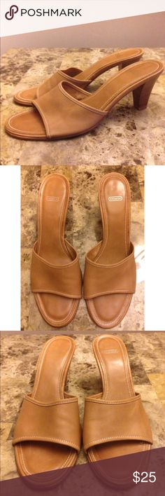 Coach Alexey Sandal Heel. Tan Coach Alexey Sandal. Has about a 2 inch heel. Good condition. Look great when worn! Coach Shoes Heels