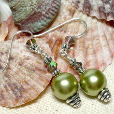Olivine Czech Pearl and Swarovski Vitrail Crystal .925 Dangle Earrings | KatsAllThat - Jewelry on ArtFire