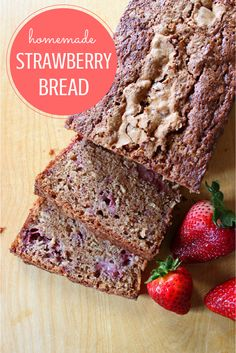 Make this delicious homemade strawberry bread today!  Made with fresh strawberries, it's a very dense and moist bread that's perfect as a snack or for breakfast.