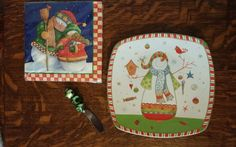 """NEW 222 FIFTH CHRISTMAS PLAY 8.25"""" SQ PLATE & JINGLE BELL SPREADER SET + NAPKINS #222Fifth"""