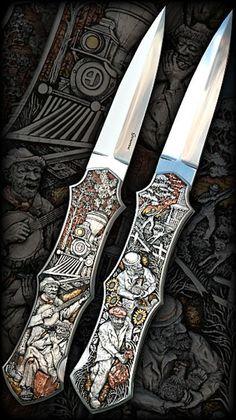 """The """"Hobo Story"""" hand-engraved by Aleksey Saburov on Rick Genovese knife. Sapphire Eyes, Sapphire Stone, Engraved Knife, Engraved Rings, Swords And Daggers, Knives And Swords, Medusa Gorgon, Hobo Nickel, Dagger Knife"""