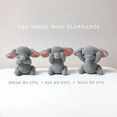 Three wise ELEPHANTS crochet amigurumi see no evil speak no