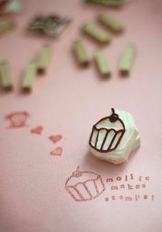 stempel aus holz in form von cupcacke, papier stempeln