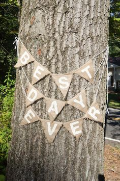 Wedding Sign - Best Day Ever - Burlap Bunting Sign.... Tangled