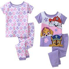 3523f47acde Nick Jr Paw Patrol Little Girls Toddler Short Sleeve Cotton Pajama Set Size  4Piece Set Nick