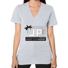 Stack Up Shirt (Tagline) V-Neck (on woman)