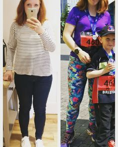 Rachel wore her coral reef Steeplechase Leggings to run a mile with her son!