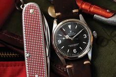 Watches Ideas - Timekeeping Selects: The Rolex Explorer Travel Kit - Gear Patrol - Flashmode Middle East Field Watches, G Shock Watches, Cool Watches, Rolex Watches, Rolex Explorer, Vintage Rolex, Vintage Watches, Apple Watch Fashion, Rolex Tudor