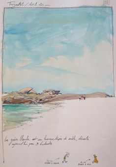 Une bretagne par les contours/ Trégastel Watercolor Sketchbook, Watercolor Tips, Watercolor Landscape, Art Sketchbook, Landscape Paintings, Travel Sketchbook, Sand Painting, Beautiful Sketches, Learn Art