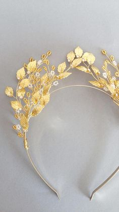 Gold Leaf Headband, Gold Leaf Tiara, Greek Tiara, Gold Tiara, Gold Crown, Gold Wedding Tiara
