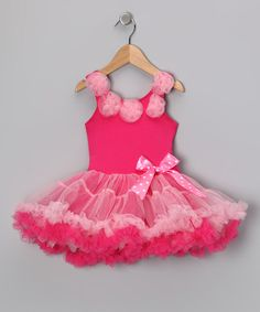 Take a look at this Hot & Light Pink Rosette Ruffle Dress - Infant, Toddler & Girls by Seesaws & Slides on #zulily today!