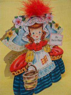 "1947 Hallmark 9"" My Pretty Maid "" Land of Make Believe Paper Doll Card"