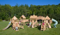 Serendipity 539 swing set and playset is splinter-free, chemical-free, and maintenance-free and features swings, slides, climbing walls, jungle gyms, and more