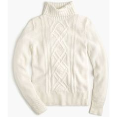 J.Crew Cambridge Cable Turtleneck Sweater ($125) ❤ liked on Polyvore featuring tops, sweaters, white tops, chunky cable knit sweater, j crew sweaters, white sweaters and cable-knit sweater