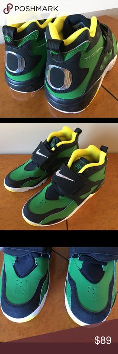 Nike Air Diamond Turf Oregon Ducks New without original box Nike Air Diamond Turf Oregon Ducks Size US9 Colors: Apple Green/White-Black-Yellow Streak Style:  309434-302                                                  They were kept in a smoke free home. Nike Shoes Sneakers
