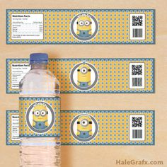 FREE printable minion water bottle labels