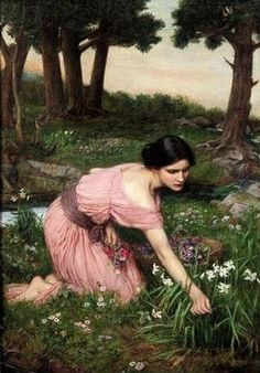 'Spring Spreads One Green Lap of Flowers', 1910, by John William Waterhouse. The glossy black hair contrasts with the flesh tones.
