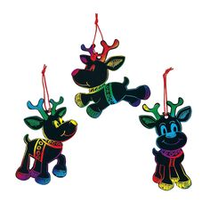 Magic Color Scratch Reindeer Christmas Ornaments - OrientalTrading.com