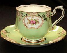 ROYAL ALBERT Rosebud REGAL GREEN GREEN TEA CUP AND SAUCER
