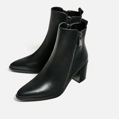 Image 4 of LEATHER ANKLE BOOTS WITH ZIPS from Zara