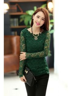 6e449b10fde73 2013 Newest Arrival Top Quality Lace Design Round Neck Long Sleeve Lady  Blouses