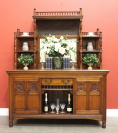 Antique English Walnut / Mirror Back 2 Height Sideboard Buffet Cabinet Cupboard