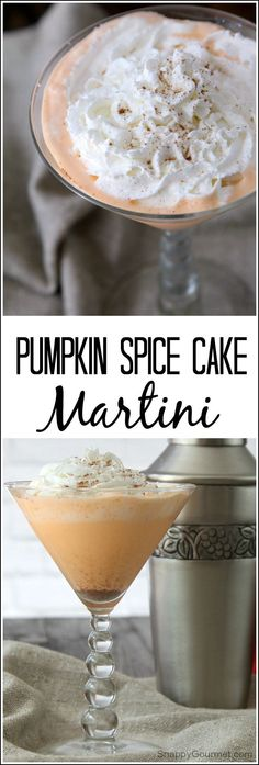 Pumpkin Spice Cake Martini, the BEST pumpkin martini recipe. Easy cocktail that is perfect for fall, Halloween, or Thanksgiving. Simple and ready in minutes! SnappyGourmet.com