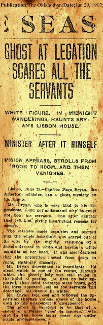 Ghost story makes headlines. ... It's hard to read but it's a serious report from 1927 Oklahoma.
