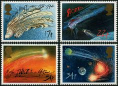 "Halley's Comet. The Great Britain stamp set to commemorate the return of Halley's Comet, designed by cartoonist Ralph Steadman. Love the 17p stamp showing Halley looking rather like his comet. The 22p stamp shows the probe Giotto nearing the comet, the 31p refers to the few folk who experience two visits of Halley's comet & on the 34p stamp, the comet is rounding the Sun. (Photo: Ian Ridpath) ©Mona Evans ""Halley's Comet"" http://www.bellaonline.com/articles/art44795.asp"