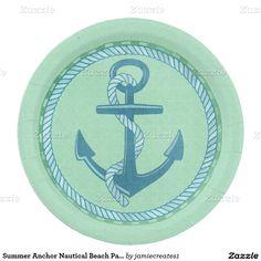 Summer Anchor Nautical Beach Pattern Paper Plate